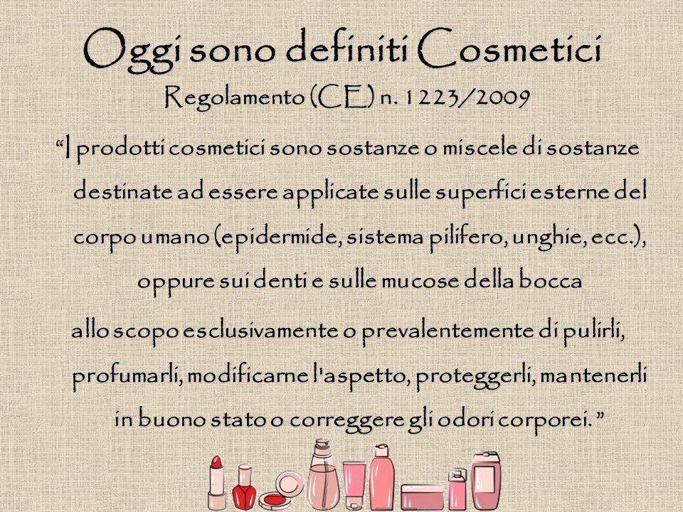 """Regolamento (CE) n. 1223/2009 """"I prodotti cosmetici sono sostanze o miscele di sostanze destinate ad essere applicate sulle superfici esterne del corp"""