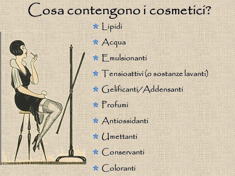Cosa contengono i cosmetici? LipidiAcquaEmulsionanti Tensioattivi (o sostanze lavanti) Gelificanti/AddensantiProfumiAntiossidantiUmettantiConservantiC