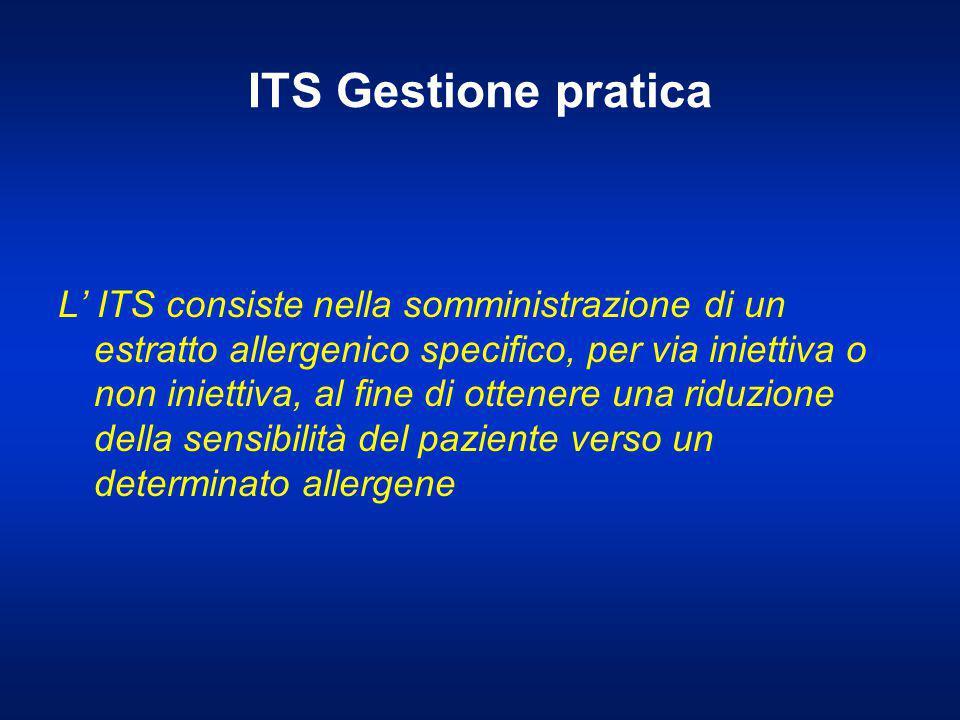 ITS Gestione pratica L' ITS consiste nella somministrazione di un estratto allergenico specifico, per via iniettiva o non iniettiva, al fine di ottene