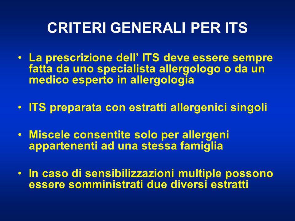 CRITERI GENERALI PER ITS La prescrizione dell' ITS deve essere sempre fatta da uno specialista allergologo o da un medico esperto in allergologia ITS