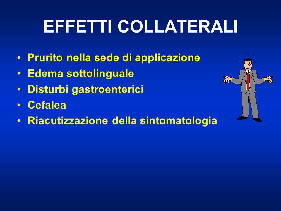 EFFETTI COLLATERALI Prurito nella sede di applicazione Edema sottolinguale Disturbi gastroenterici Cefalea Riacutizzazione della sintomatologia