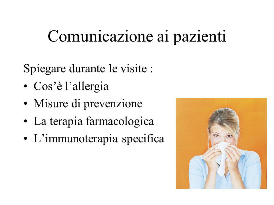 Comunicazione ai pazienti Spiegare durante le visite : Cos'è l'allergia Misure di prevenzione La terapia farmacologica L'immunoterapia specifica