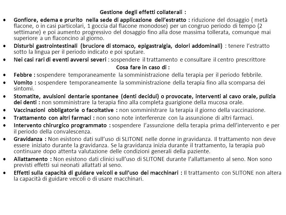 Gestione degli effetti collaterali :  Gonfiore, edema e prurito nella sede di applicazione dell'estratto : riduzione del dosaggio ( metà flacone, o i