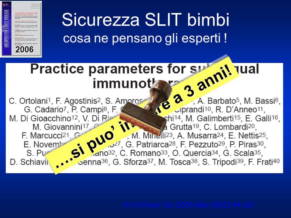 Sicurezza SLIT bimbi cosa ne pensano gli esperti ! 2006 ….si puo' iniziare a 3 anni! Arch Chest Dis 2006 Mar;65(1):44-60