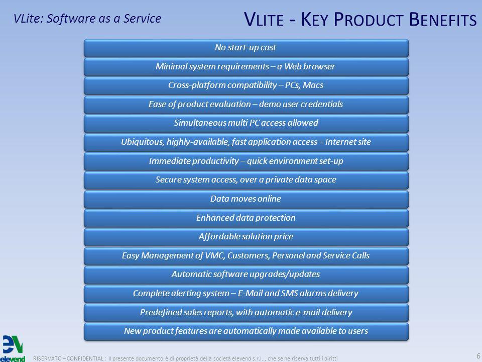 V LITE - K EY P RODUCT B ENEFITS RISERVATO – CONFIDENTIAL : Il presente documento è di proprietà della società elevend s.r.l.., che se ne riserva tutt