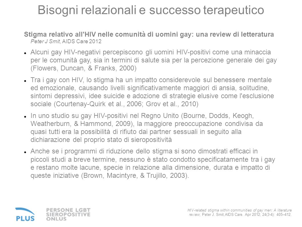 Bisogni relazionali e successo terapeutico HIV-related stigma within communities of gay men: A literature review, Peter J. Smit,AIDS Care. Apr 2012; 2