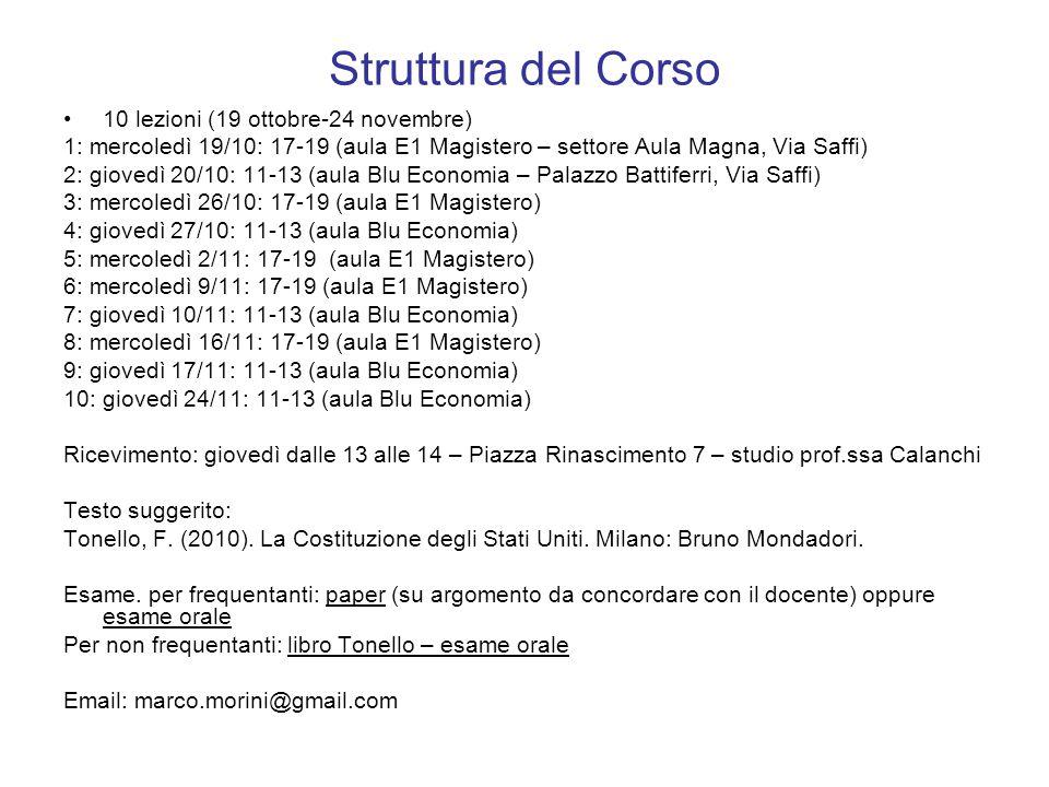 Struttura del Corso 10 lezioni (19 ottobre-24 novembre) 1: mercoledì 19/10: 17-19 (aula E1 Magistero – settore Aula Magna, Via Saffi) 2: giovedì 20/10