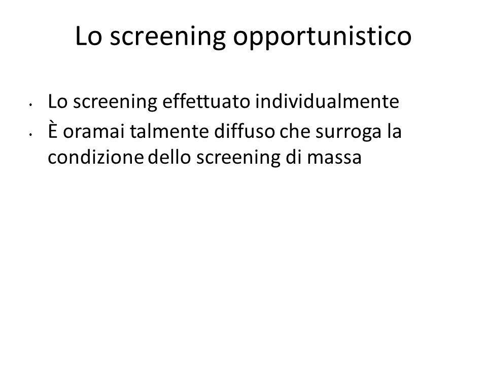 Lo screening opportunistico Lo screening effettuato individualmente È oramai talmente diffuso che surroga la condizione dello screening di massa