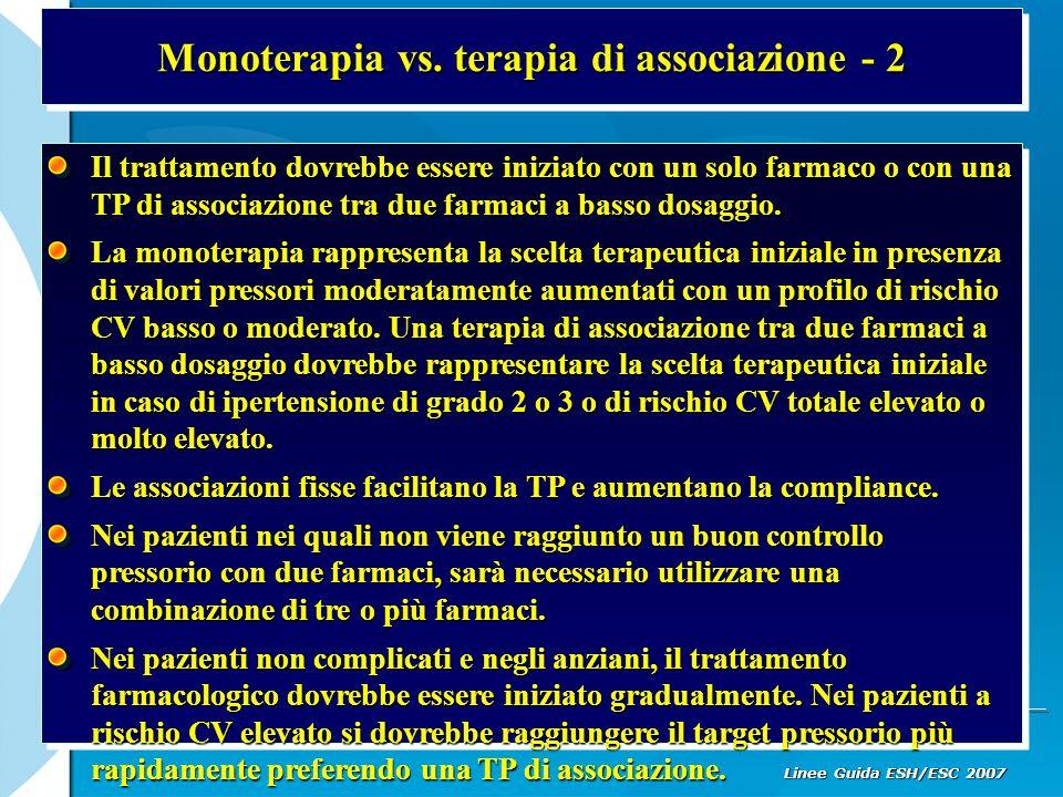Monoterapia vs. terapia di associazione - 2 Il trattamento dovrebbe essere iniziato con un solo farmaco o con una TP di associazione tra due farmaci a