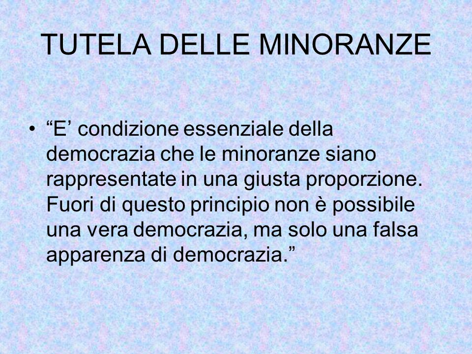 """TUTELA DELLE MINORANZE """"E' condizione essenziale della democrazia che le minoranze siano rappresentate in una giusta proporzione. Fuori di questo prin"""