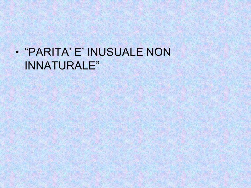 """""""PARITA' E' INUSUALE NON INNATURALE"""""""