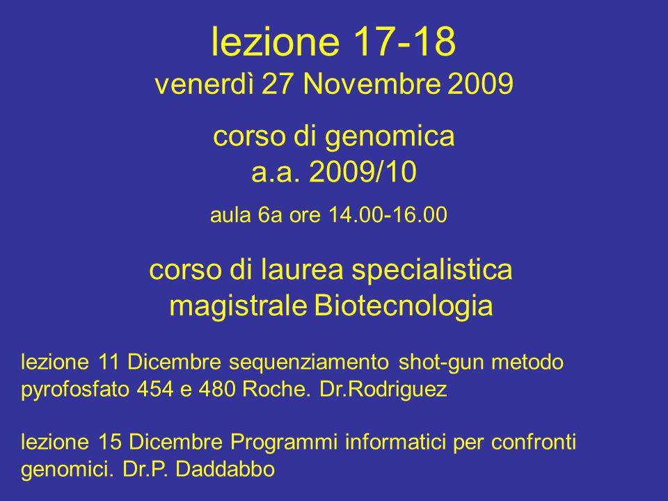 lezione 17-18 venerdì 27 Novembre 2009 corso di laurea specialistica magistrale Biotecnologia aula 6a ore 14.00-16.00 corso di genomica a.a.