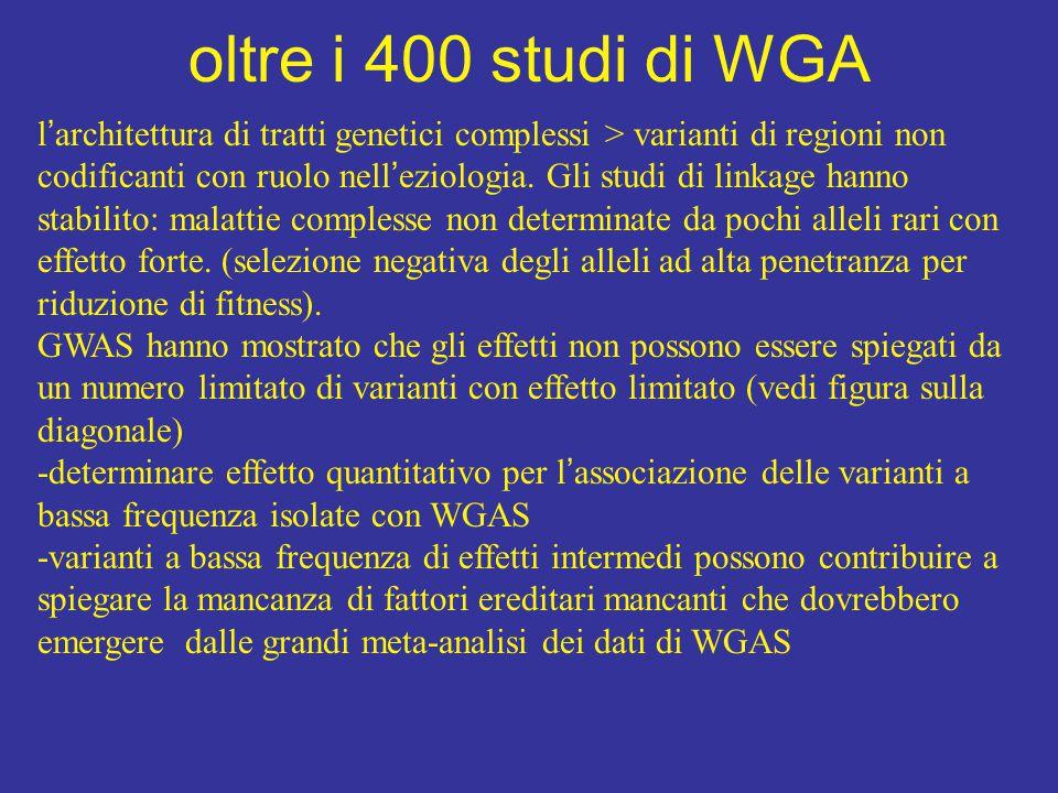 oltre i 400 studi di WGA l ' architettura di tratti genetici complessi > varianti di regioni non codificanti con ruolo nell ' eziologia.