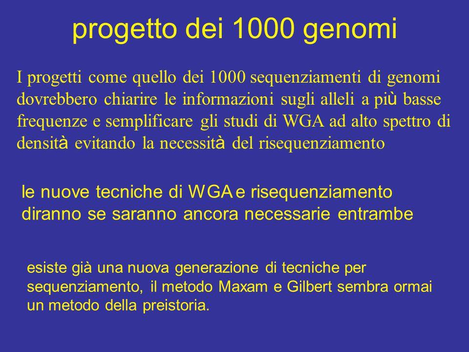 progetto dei 1000 genomi I progetti come quello dei 1000 sequenziamenti di genomi dovrebbero chiarire le informazioni sugli alleli a pi ù basse frequenze e semplificare gli studi di WGA ad alto spettro di densit à evitando la necessit à del risequenziamento le nuove tecniche di WGA e risequenziamento diranno se saranno ancora necessarie entrambe esiste già una nuova generazione di tecniche per sequenziamento, il metodo Maxam e Gilbert sembra ormai un metodo della preistoria.