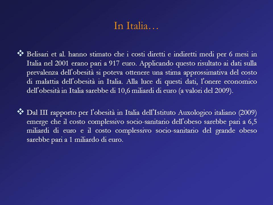 In Italia…  Belisari et al. hanno stimato che i costi diretti e indiretti medi per 6 mesi in Italia nel 2001 erano pari a 917 euro. Applicando questo