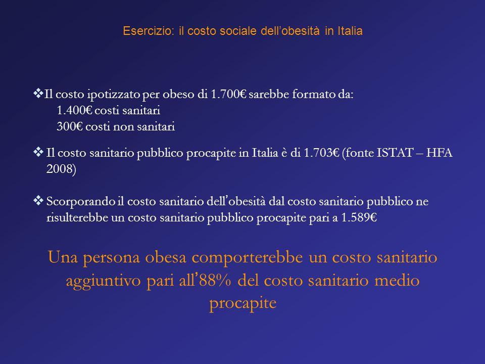  Il costo ipotizzato per obeso di 1.700€ sarebbe formato da: 1.400€ costi sanitari 300€ costi non sanitari  Il costo sanitario pubblico procapite in
