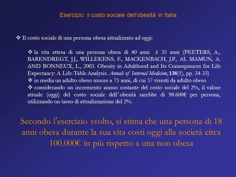 Esercizio: il costo sociale dell'obesità in Italia  Il costo sociale di una persona obesa attualizzato ad oggi:  la vita attesa di una persona obesa