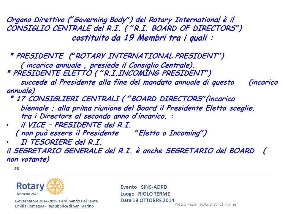 53 Evento SINS-ADPD Luogo RIOLO TERME Data 18 OTTOBRE 2014 Governatore 2014-2015 Ferdinando Del Sante Emilia Romagna - Repubblica di San Marino Distretto 2072 Organo Direttivo ( Governing Body ) del Rotary International è il CONSIGLIO CENTRALE del R.I.