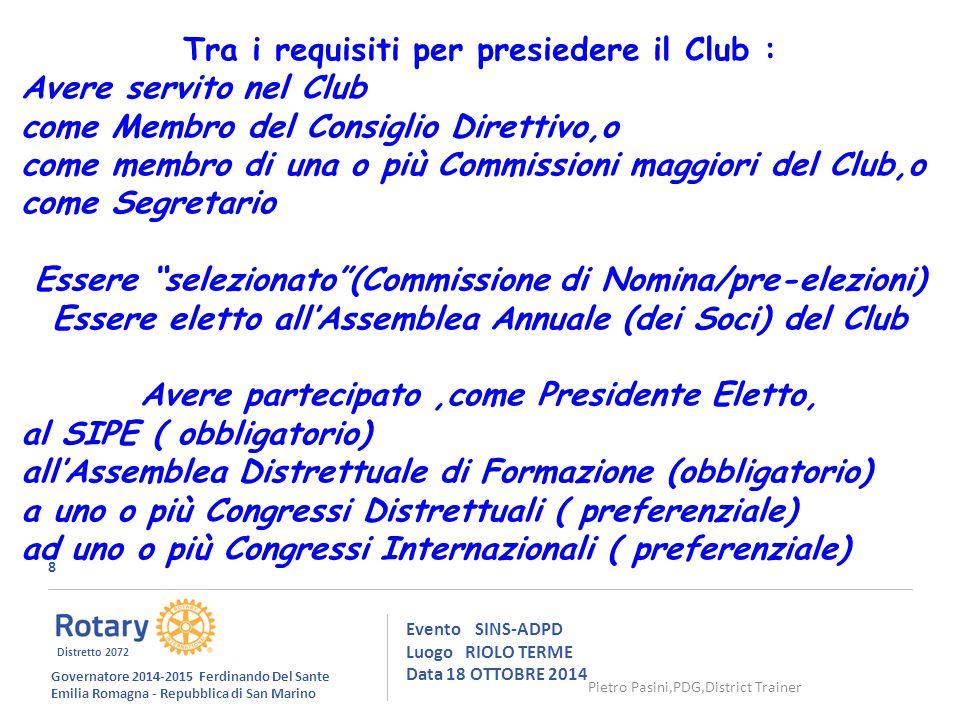 49 Evento SINS-ADPD Luogo RIOLO TERME Data 18 OTTOBRE 2014 da Proposta di una Carta Rotariana della Cultura (1982) di Tristano Bolelli,R.C.