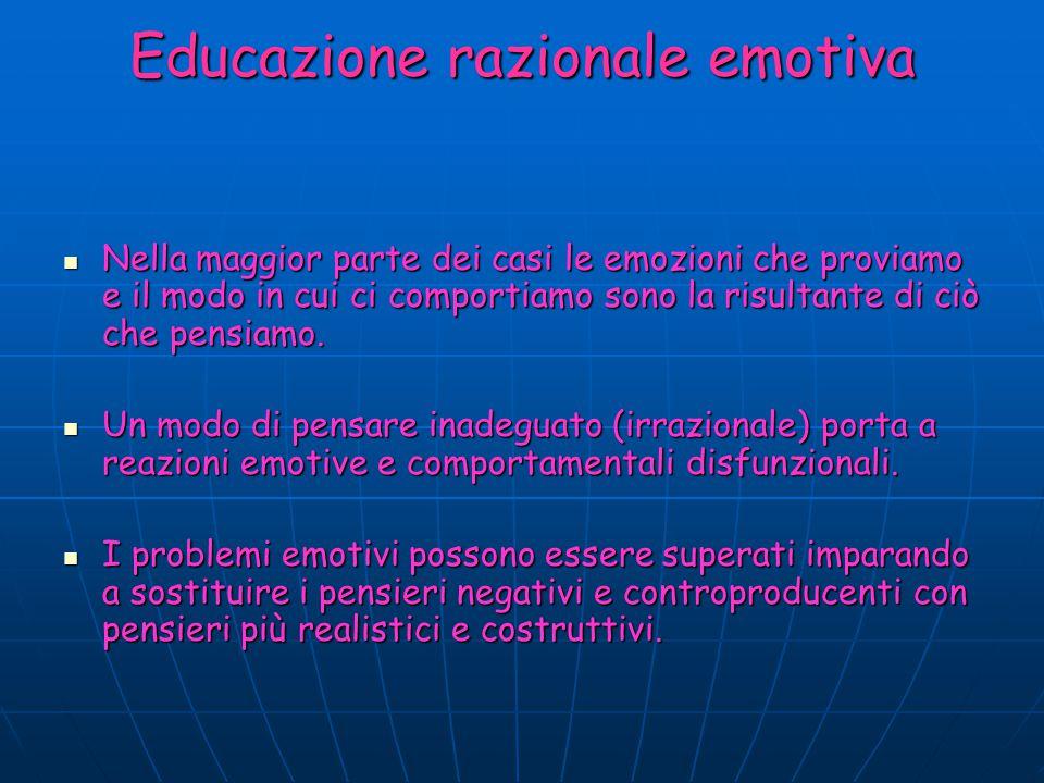 Educazione razionale emotiva Nella maggior parte dei casi le emozioni che proviamo e il modo in cui ci comportiamo sono la risultante di ciò che pensi