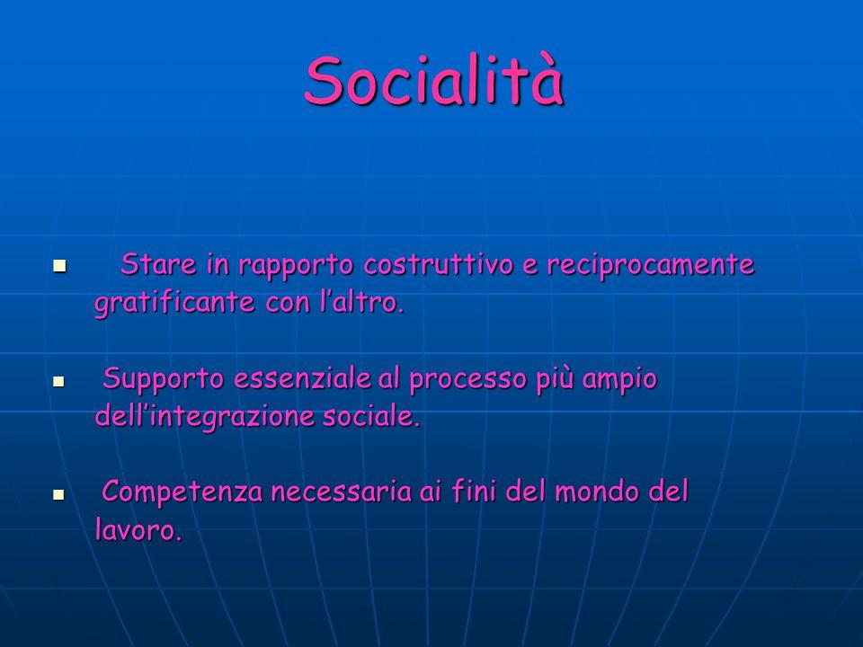 Socialità Stare in rapporto costruttivo e reciprocamente Stare in rapporto costruttivo e reciprocamente gratificante con l'altro. gratificante con l'a