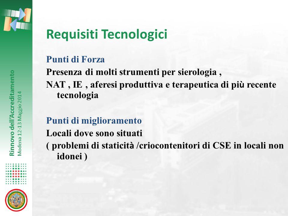 Rinnovo dell'Accreditamento Modena 12-13 Maggio 2014 Requisiti Tecnologici Punti di Forza Presenza di molti strumenti per sierologia, NAT, IE, aferesi