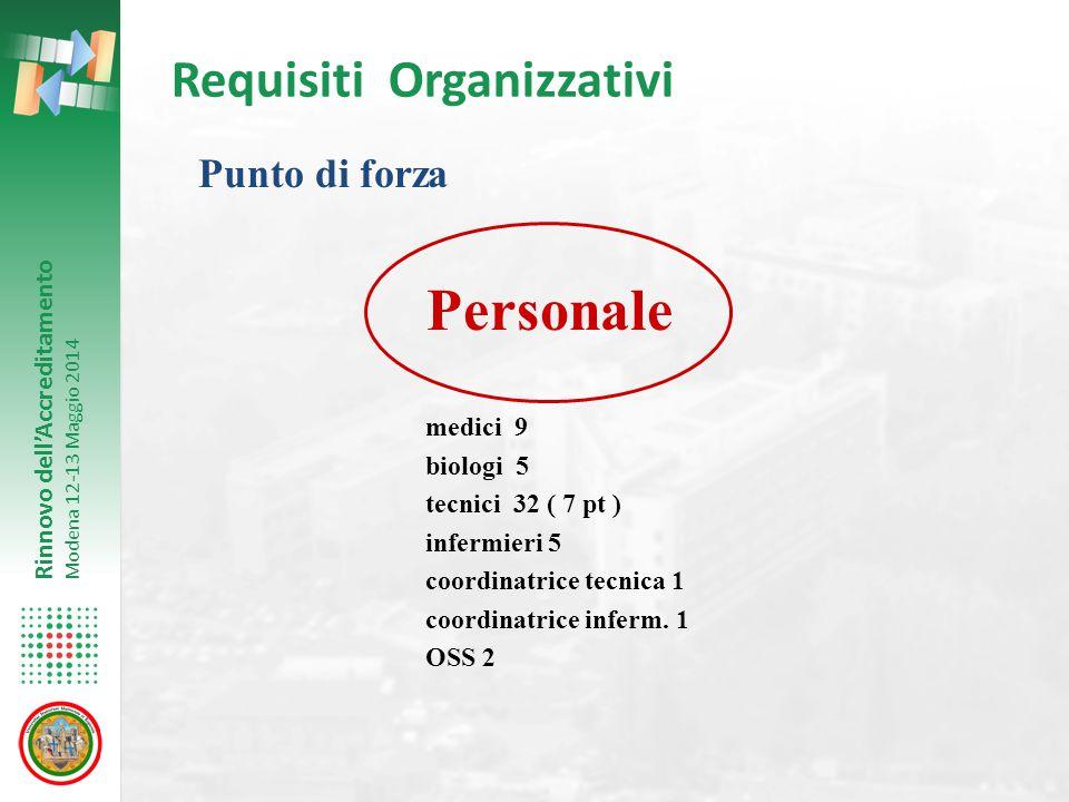 Rinnovo dell'Accreditamento Modena 12-13 Maggio 2014 Requisiti Organizzativi Punto di forza Personale medici 9 biologi 5 tecnici 32 ( 7 pt ) infermier