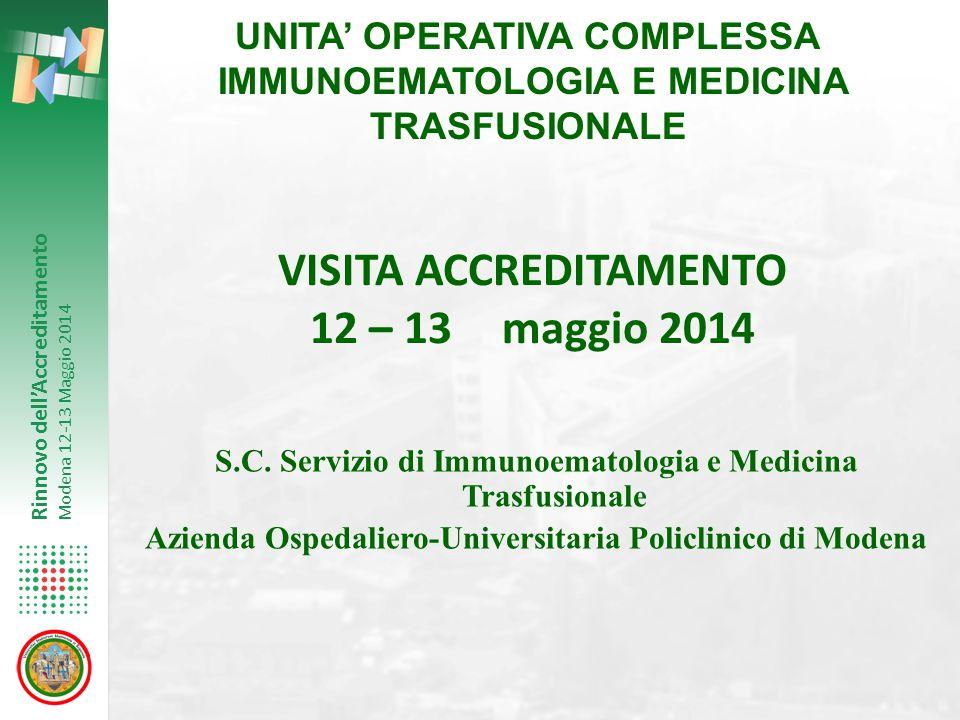 Rinnovo dell'Accreditamento Modena 12-13 Maggio 2014 UNITA' OPERATIVA COMPLESSA IMMUNOEMATOLOGIA E MEDICINA TRASFUSIONALE S.C. Servizio di Immunoemato