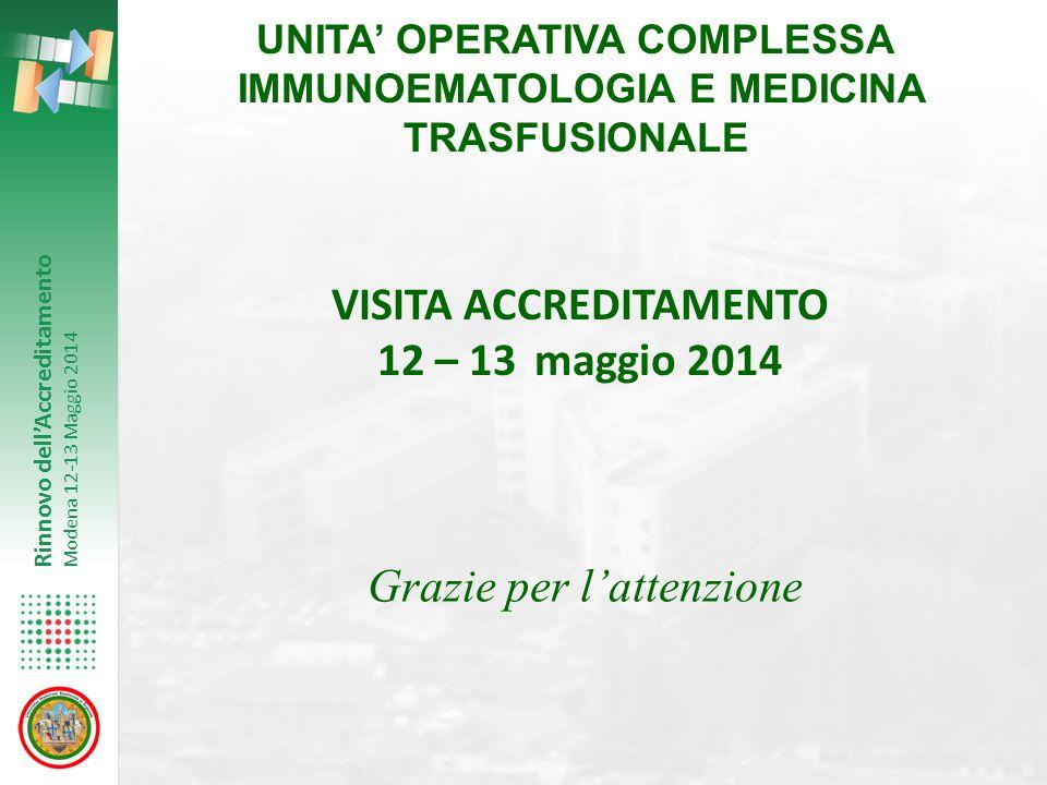 Rinnovo dell'Accreditamento Modena 12-13 Maggio 2014 UNITA' OPERATIVA COMPLESSA IMMUNOEMATOLOGIA E MEDICINA TRASFUSIONALE VISITA ACCREDITAMENTO 12 – 1