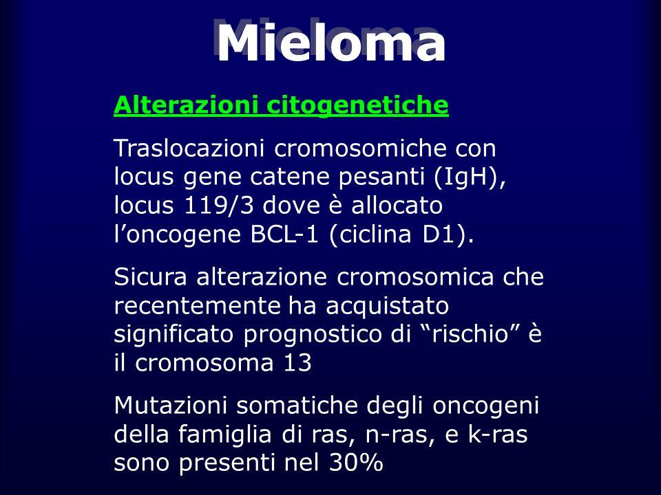 Mieloma Alterazioni citogenetiche Traslocazioni cromosomiche con locus gene catene pesanti (IgH), locus 119/3 dove è allocato l'oncogene BCL-1 (ciclina D1).