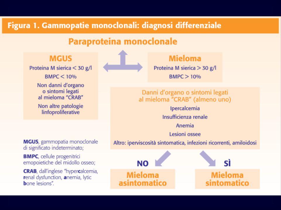 Mieloma Multiplo Patogenesi lesioni scheletriche Attività osteoclastica aumentata legata alla produzione da parte delle plasmacellule di IL-6 IL-11 TNF 2 Topi transgenici: alterazione dell'equilibrio tra: produzione di RANK-2 ed osteoprotegerina (OPG) Nel Mieloma multiplo questo bilancio tra OPG e RANK-2 è alterato da citokine (1B, IL6, TNFa, che aumentano la produzione di RANK-L e diminuiscono OPG favorendo l'osteoclastogenesi