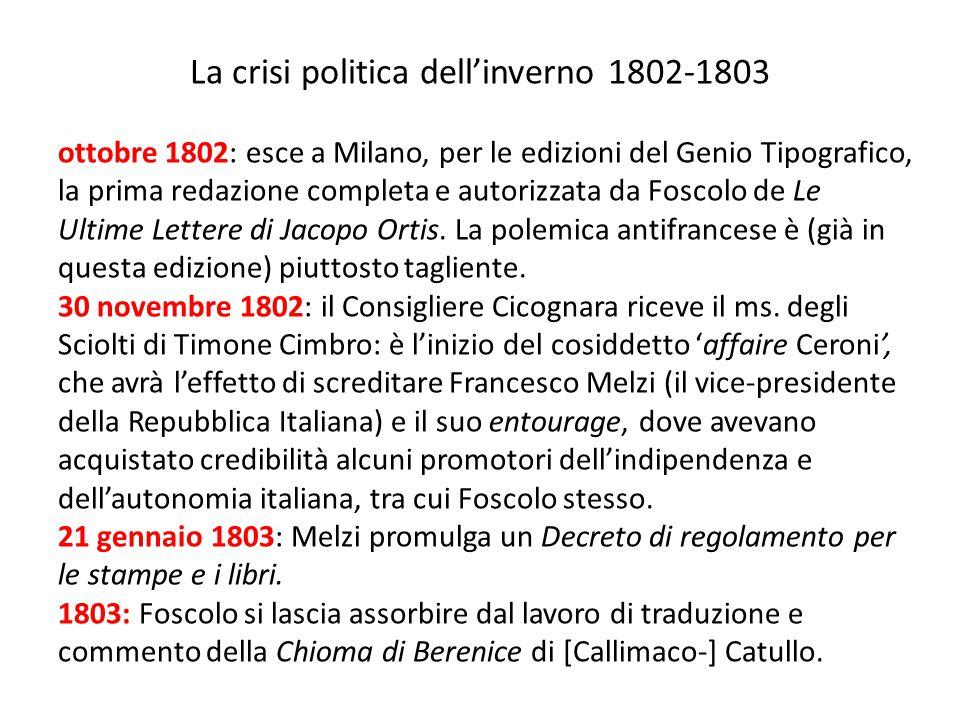 La crisi politica dell'inverno 1802-1803 ottobre 1802: esce a Milano, per le edizioni del Genio Tipografico, la prima redazione completa e autorizzata
