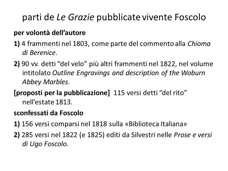 parti de Le Grazie pubblicate vivente Foscolo per volontà dell'autore 1) 4 frammenti nel 1803, come parte del commento alla Chioma di Berenice. 2) 90