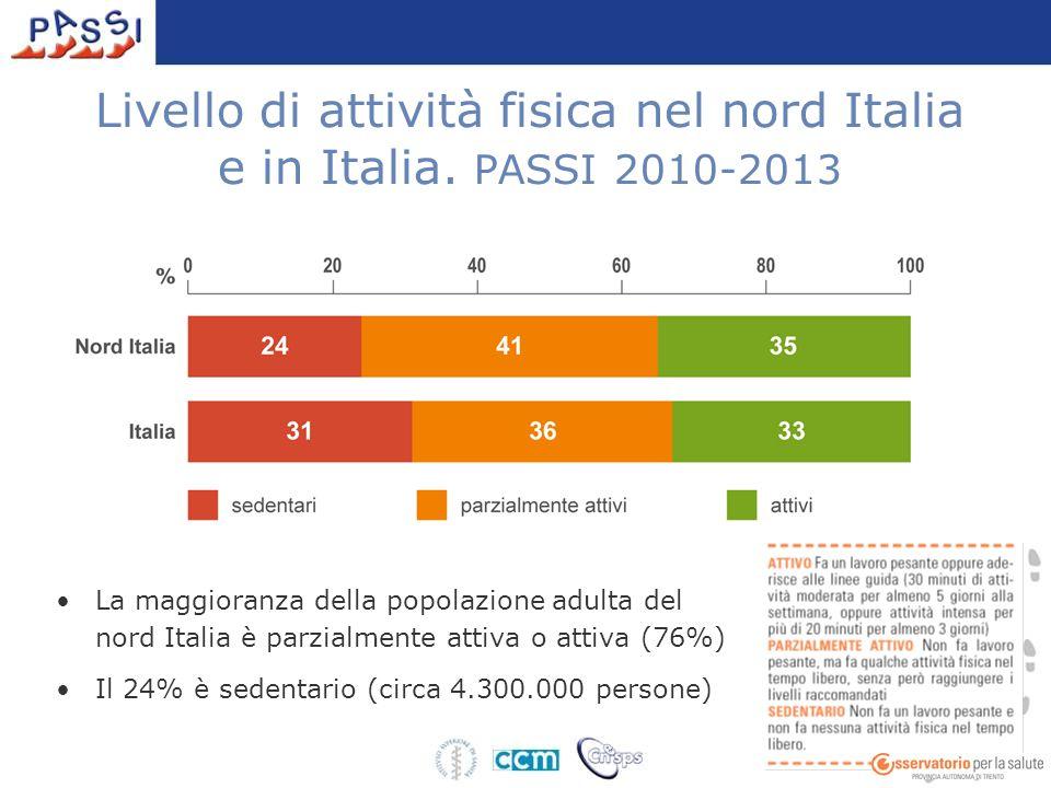 Livello di attività fisica nel nord Italia e in Italia. PASSI 2010-2013 La maggioranza della popolazione adulta del nord Italia è parzialmente attiva