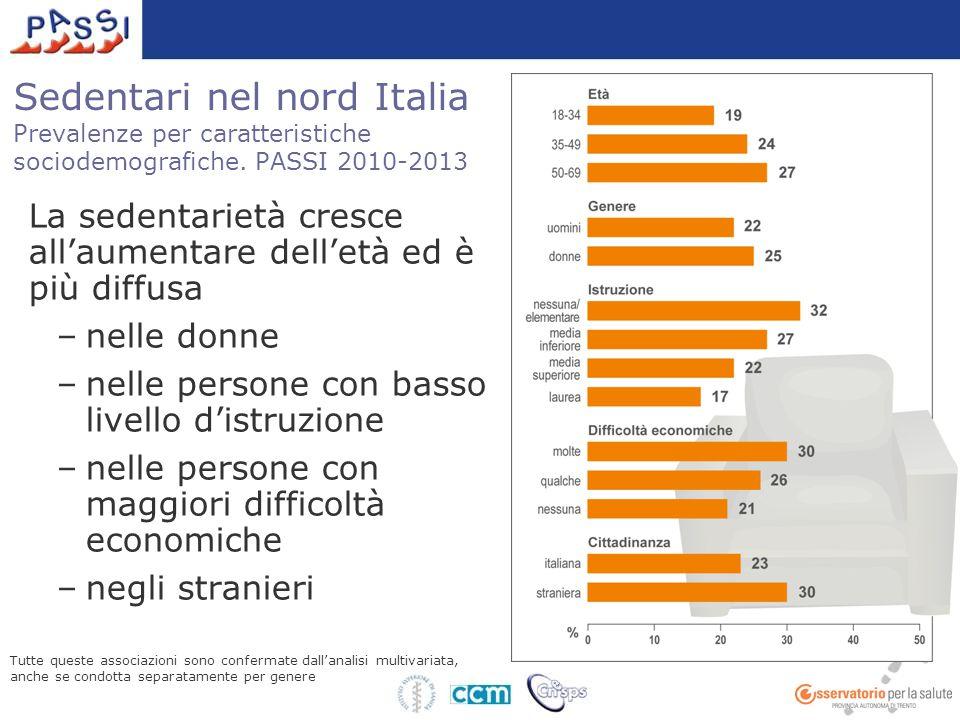 Sedentari nel nord Italia Prevalenze per caratteristiche sociodemografiche. PASSI 2010-2013 La sedentarietà cresce all'aumentare dell'età ed è più dif
