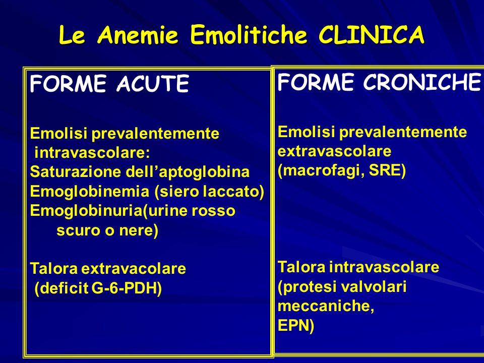 Le Anemie Emolitiche CLINICA FORME ACUTE Emolisi prevalentemente intravascolare: Saturazione dell'aptoglobina Emoglobinemia (siero laccato) Emoglobinuria(urine rosso scuro o nere) Talora extravacolare (deficit G-6-PDH) FORME CRONICHE Emolisi prevalentemente extravascolare (macrofagi, SRE) Talora intravascolare (protesi valvolari meccaniche, EPN)