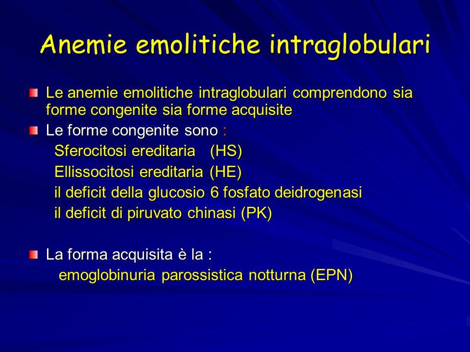 Anemie emolitiche intraglobulari Le anemie emolitiche intraglobulari comprendono sia forme congenite sia forme acquisite Le forme congenite sono : Sferocitosi ereditaria (HS) Sferocitosi ereditaria (HS) Ellissocitosi ereditaria (HE) Ellissocitosi ereditaria (HE) il deficit della glucosio 6 fosfato deidrogenasi il deficit della glucosio 6 fosfato deidrogenasi il deficit di piruvato chinasi (PK) il deficit di piruvato chinasi (PK) La forma acquisita è la : emoglobinuria parossistica notturna (EPN) emoglobinuria parossistica notturna (EPN)