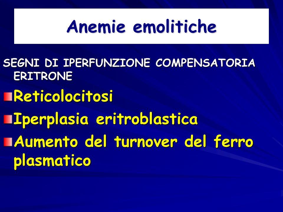 Anemie emolitiche SEGNI DI IPERFUNZIONE COMPENSATORIA ERITRONE Reticolocitosi Iperplasia eritroblastica Aumento del turnover del ferro plasmatico