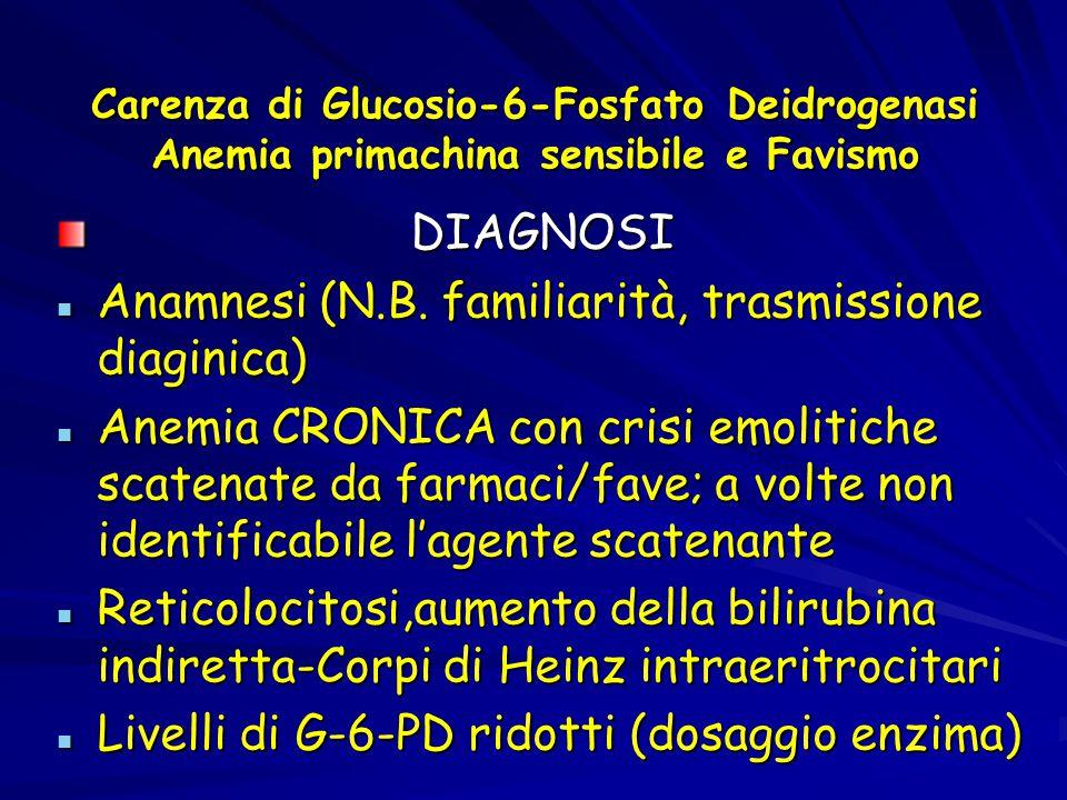 Carenza di Glucosio-6-Fosfato Deidrogenasi Anemia primachina sensibile e Favismo DIAGNOSI DIAGNOSI Anamnesi (N.B. familiarità, trasmissione diaginica)