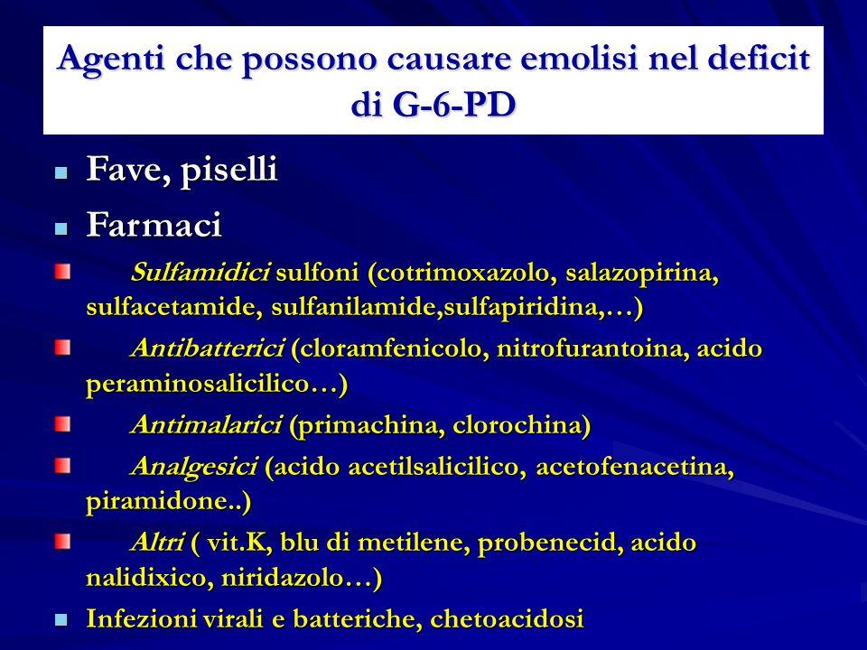Agenti che possono causare emolisi nel deficit di G-6-PD Fave, piselli Fave, piselli Farmaci Farmaci Sulfamidici sulfoni (cotrimoxazolo, salazopirina,