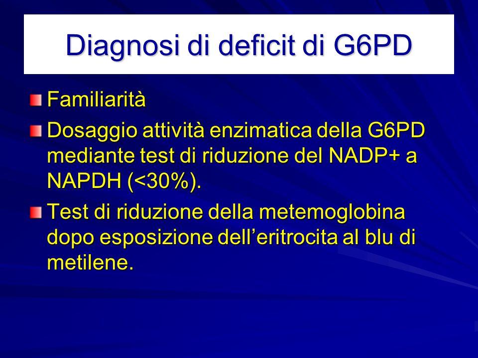 Diagnosi di deficit di G6PD Familiarità Dosaggio attività enzimatica della G6PD mediante test di riduzione del NADP+ a NAPDH (<30%). Test di riduzione