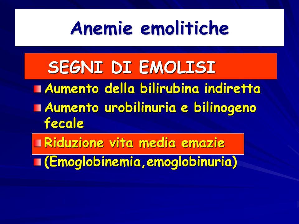 Anemie emolitiche SEGNI DI EMOLISI SEGNI DI EMOLISI Aumento della bilirubina indiretta Aumento urobilinuria e bilinogeno fecale Riduzione vita media emazie (Emoglobinemia,emoglobinuria)