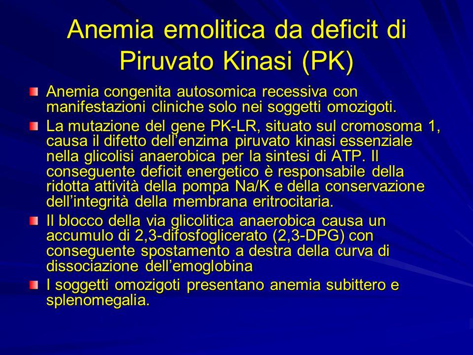 Anemia emolitica da deficit di Piruvato Kinasi (PK) Anemia congenita autosomica recessiva con manifestazioni cliniche solo nei soggetti omozigoti. La