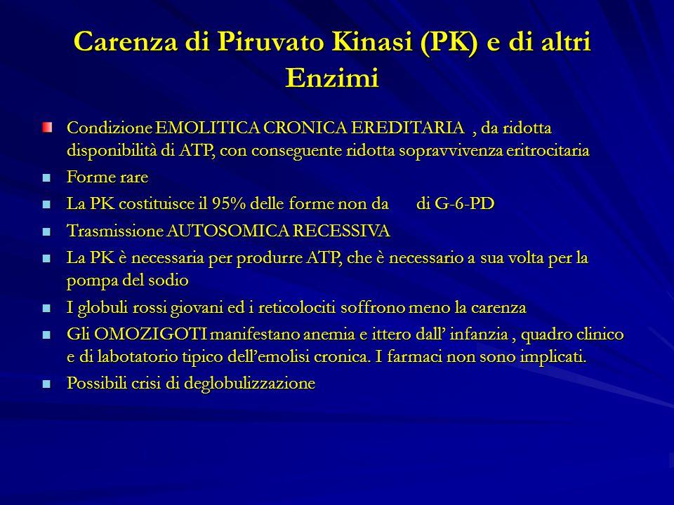 Carenza di Piruvato Kinasi (PK) e di altri Enzimi Condizione EMOLITICA CRONICA EREDITARIA, da ridotta disponibilità di ATP, con conseguente ridotta sopravvivenza eritrocitaria Forme rare Forme rare La PK costituisce il 95% delle forme non da di G-6-PD La PK costituisce il 95% delle forme non da di G-6-PD Trasmissione AUTOSOMICA RECESSIVA Trasmissione AUTOSOMICA RECESSIVA La PK è necessaria per produrre ATP, che è necessario a sua volta per la pompa del sodio La PK è necessaria per produrre ATP, che è necessario a sua volta per la pompa del sodio I globuli rossi giovani ed i reticolociti soffrono meno la carenza I globuli rossi giovani ed i reticolociti soffrono meno la carenza Gli OMOZIGOTI manifestano anemia e ittero dall' infanzia, quadro clinico e di labotatorio tipico dell'emolisi cronica.