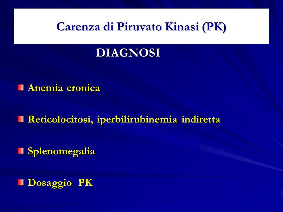 Carenza di Piruvato Kinasi (PK) DIAGNOSI DIAGNOSI Anemia cronica Reticolocitosi, iperbilirubinemia indiretta Splenomegalia Dosaggio PK
