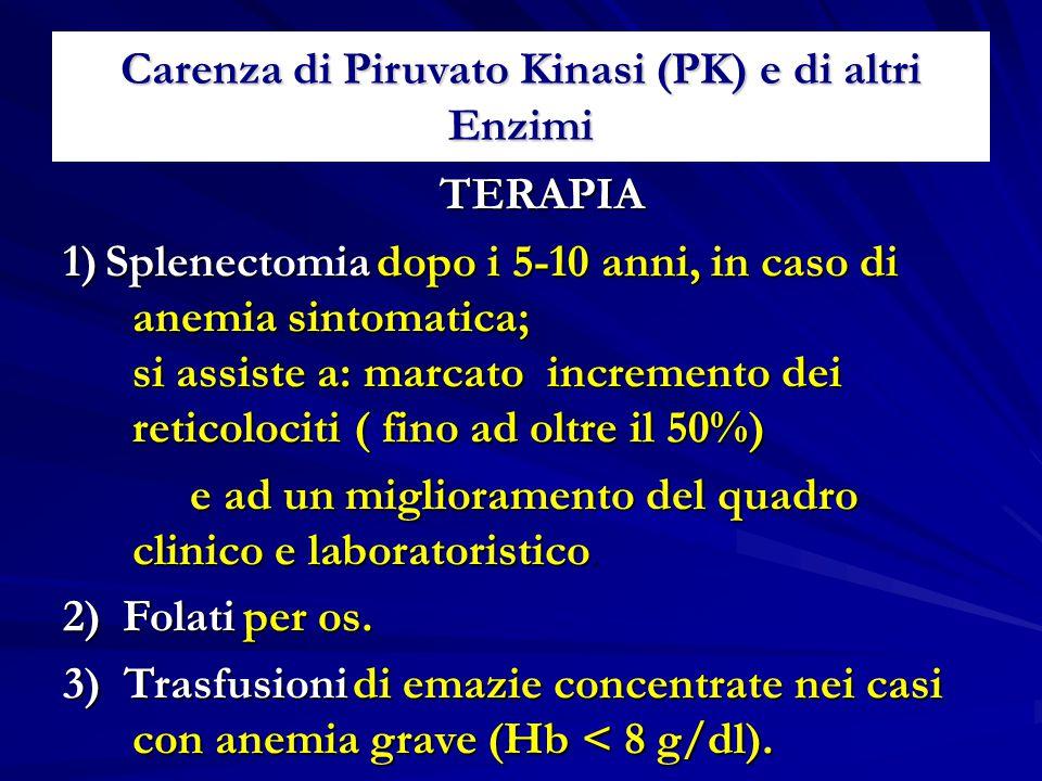 Carenza di Piruvato Kinasi (PK) e di altri Enzimi TERAPIA TERAPIA 1) Splenectomia dopo i 5-10 anni, in caso di anemia sintomatica; si assiste a: marca