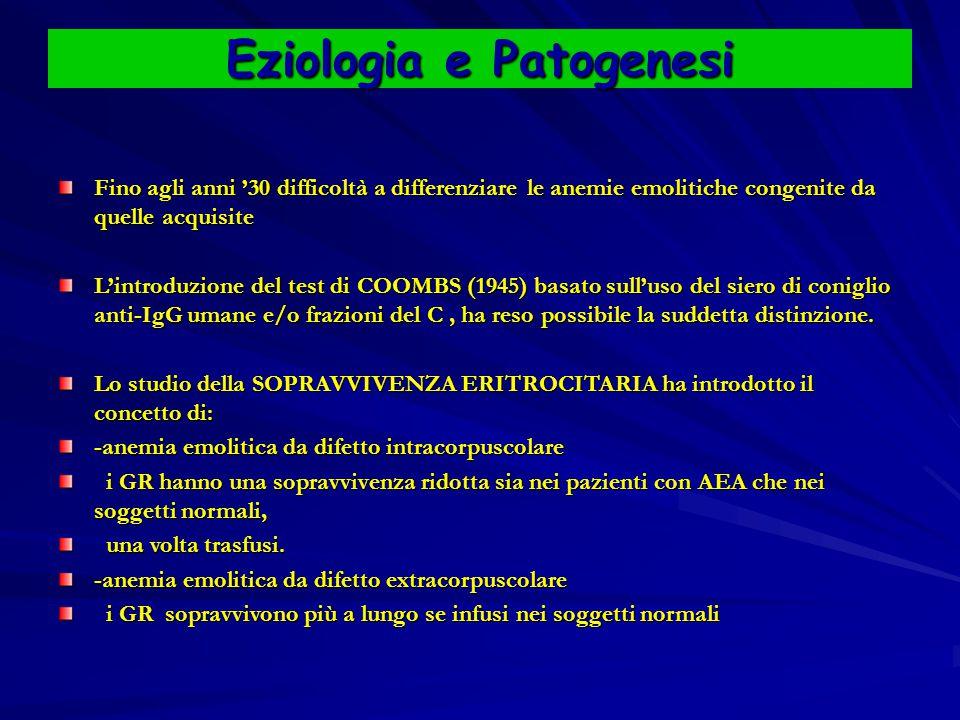 Eziologia e Patogenesi Fino agli anni '30 difficoltà a differenziare le anemie emolitiche congenite da quelle acquisite L'introduzione del test di COOMBS (1945) basato sull'uso del siero di coniglio anti-IgG umane e/o frazioni del C, ha reso possibile la suddetta distinzione.