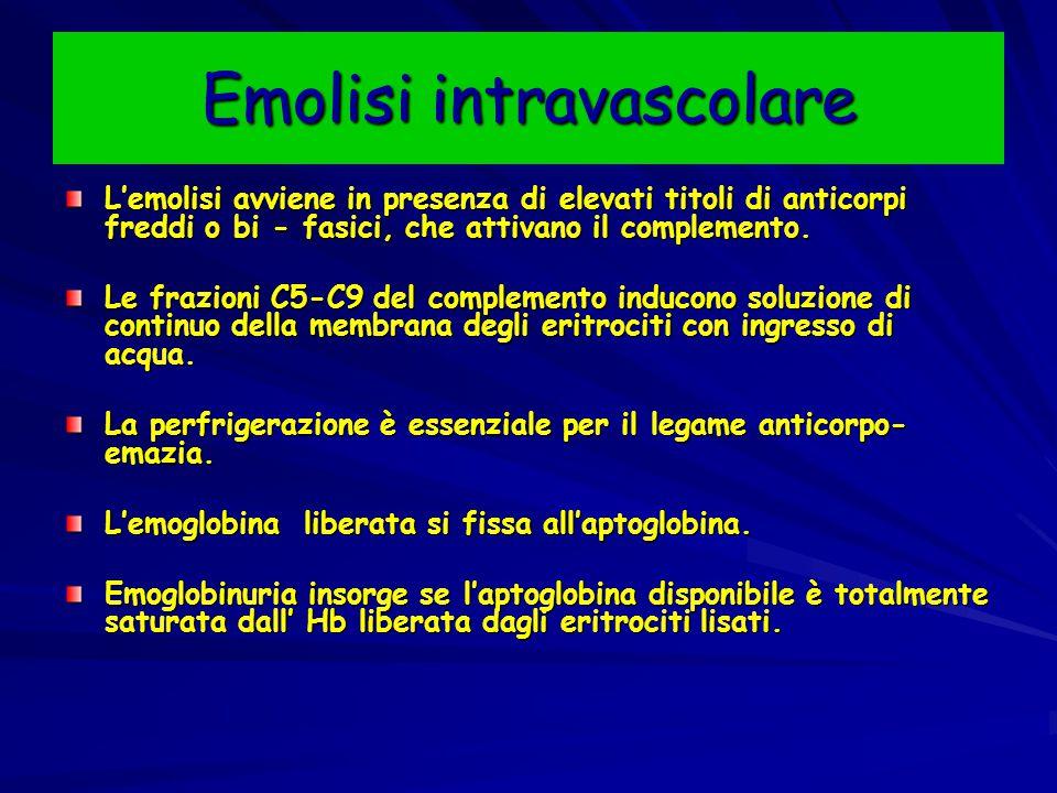 Emolisi intravascolare L'emolisi avviene in presenza di elevati titoli di anticorpi freddi o bi - fasici, che attivano il complemento.