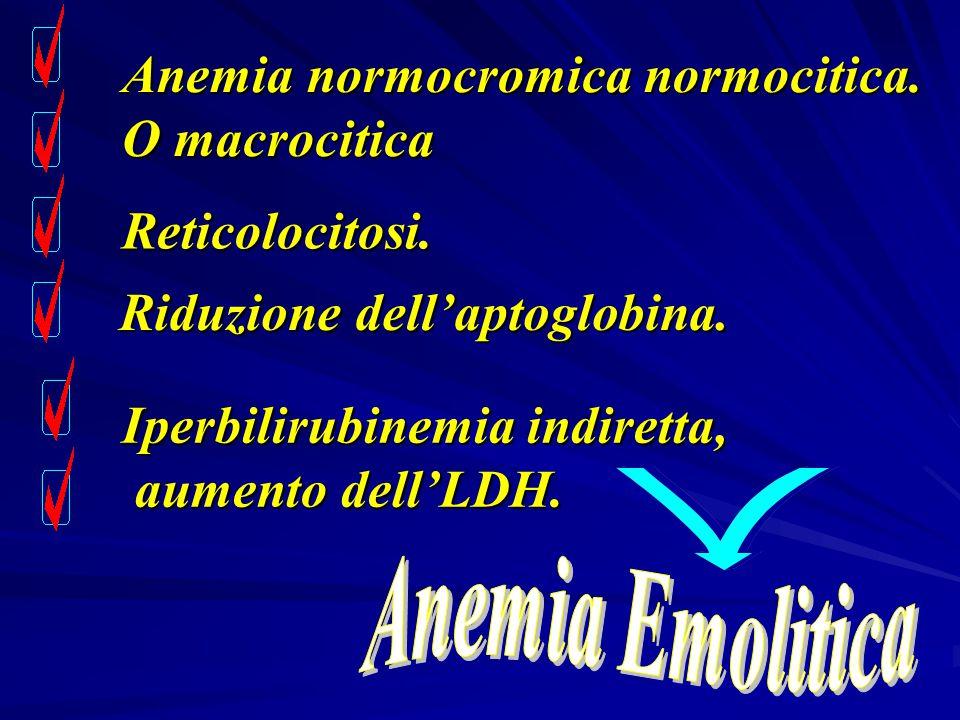 Anemia normocromica normocitica. O macrocitica Reticolocitosi. Iperbilirubinemia indiretta, aumento dell'LDH. aumento dell'LDH. Riduzione dell'aptoglo