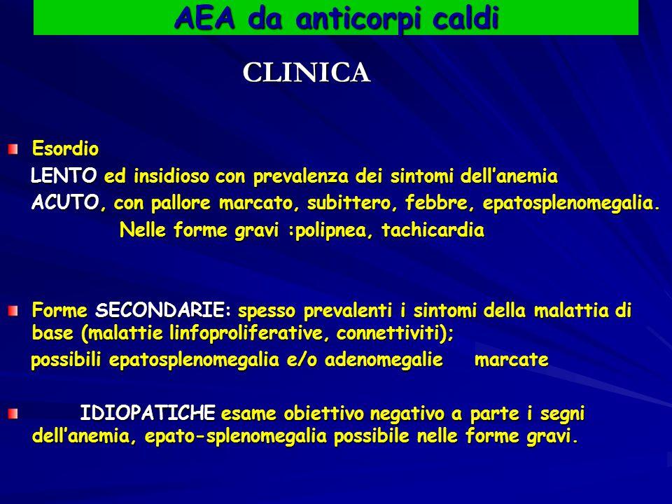 AEA da anticorpi caldi CLINICA CLINICAEsordio LENTO ed insidioso con prevalenza dei sintomi dell'anemia LENTO ed insidioso con prevalenza dei sintomi dell'anemia ACUTO, con pallore marcato, subittero, febbre, epatosplenomegalia.